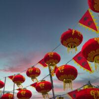 夕方の北野の春節祭中国ランタン 1