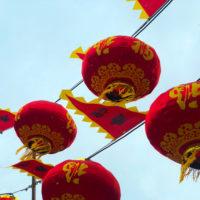 雪の降る北野の春節祭中国ランタン 1
